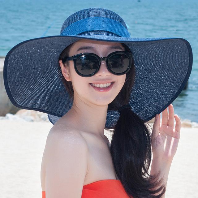 2016 Nueva Señora Sombrero de Sun Del Verano Sombrero de Paja de Las Mujeres Plegado de Ala Ancha Dom Casquillo Elegante Viajar Sombrero Nuevo Headwear B-1963