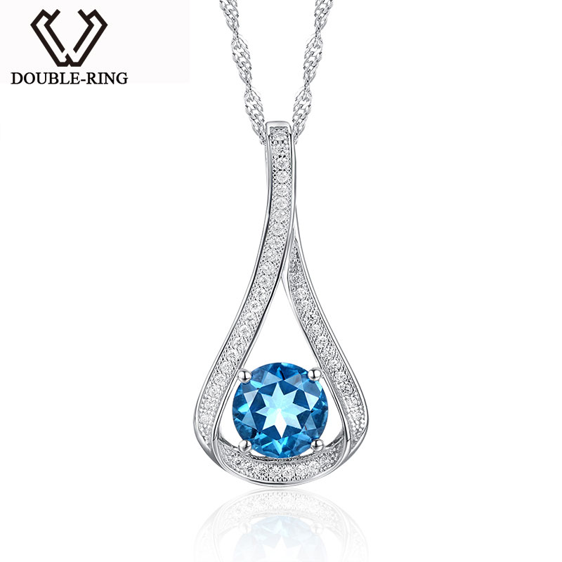 DOUBLE-RING Sterling Silver Pendant Different Types of Pendant Chains Jewelry with Blue Topaz for Anniversary Party CAP02407A