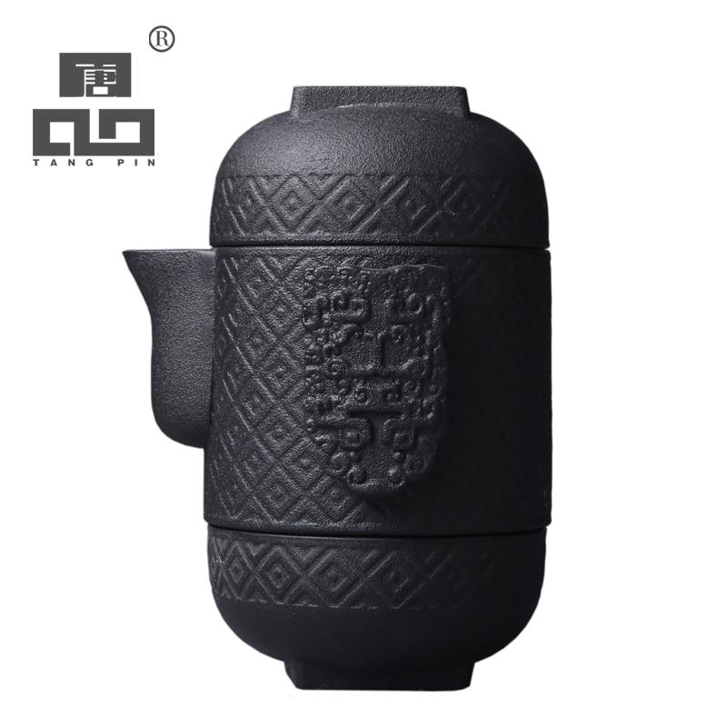 TANGPIN Japanese Ceramic Teapot Kettle Gaiwan Teacup Porcelain Tea Pot Set Portable Travel Tea Set