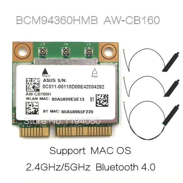 AzureWave AW CB160H Broadcom BCM94360HMB 802.11AC 1300Mbps Kablosuz WIFI WLAN Bluetooth 4.0 Mini PCI E Kart + 20cm MHF4 Anten