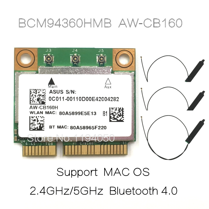 AzureWave AW-CB160H Broadcom BCM94360HMB 802.11AC 1300Mbps Wireless WIFI WLAN Bluetooth 4.0 Mini PCI-E Card + 20cm MHF4 Antenna