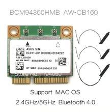 AzureWave BCM94360HMB 802.11AC 1300 Мбит/с беспроводной Wi Fi WLAN Bluetooth 4,0 Mini PCI E карта 20 см MHF4 антенна