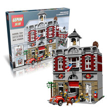 2313Pcs Lepin 15004 City Street Creator Fire Brigade Model Building Kits Minifigure Blocks Bricks Compatible 10197 free shipping