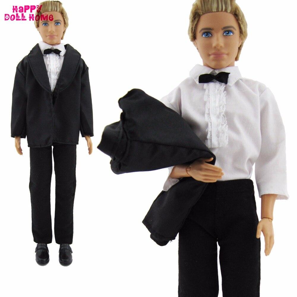 3in1 Handmade Formal Enterprise Fits Tuxedo Black Coat White Shirt Bowknot Pants For Barbie Pal Ken Doll Garments Equipment