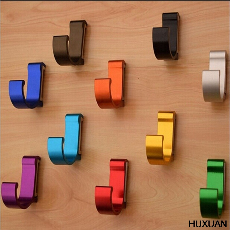 Bathroom Hooks Wall Mounted Great Aluminum Finish Candy Color Clothes Hanger & Towel & Coat & Robe Hook Decorative