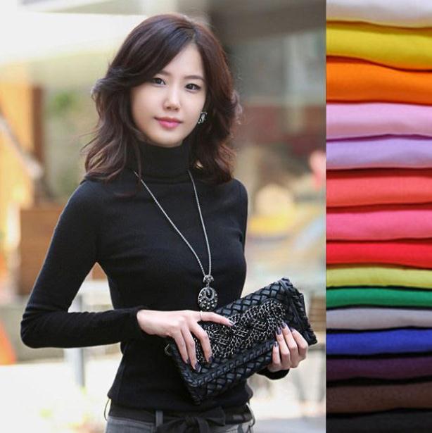 2019 High Elastic quality Fashion Autumn Winter sweater women wool turtleneck pullovers long sleeve big size women clothing 869