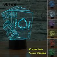 Modern Colorful Visual Lamp Night Light Micro USB LED Poker Shape Room Decoration 3D Home Decor