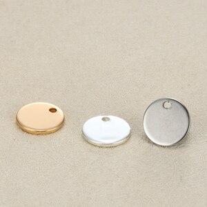 Image 3 - La coutume blanche de pendentifs en acier inoxydable détiquette ronde de 12mm gravent le logo avec la petite quantité