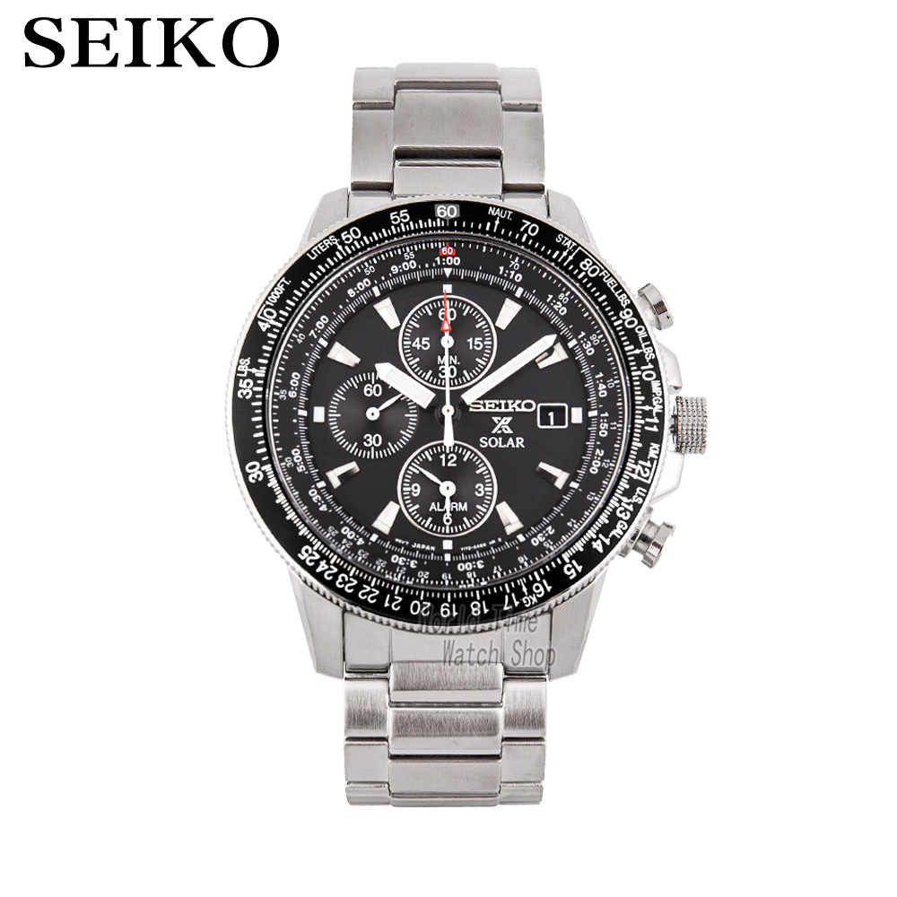 seiko watch men top Luxury Brand Waterproof Sport Wrist Watch solar watch Chronograph quartz men watch Relogio Masculino SSC009