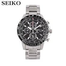 Seiko izle erkekler en lüks marka su geçirmez spor kol saati güneş saati Chronograph kuvars erkek saati Relogio Masculino SSC009