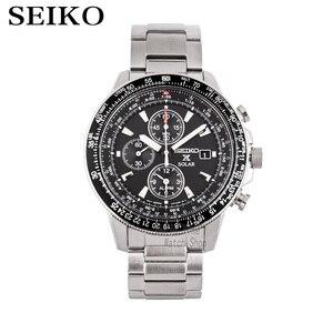 Seiko relógios de pulso masculinos, relógios de luxo de marca superior para homens relógio de pulso esportivo à prova d' água relógio solar com cronógrafo de quartzo para homens ssc009