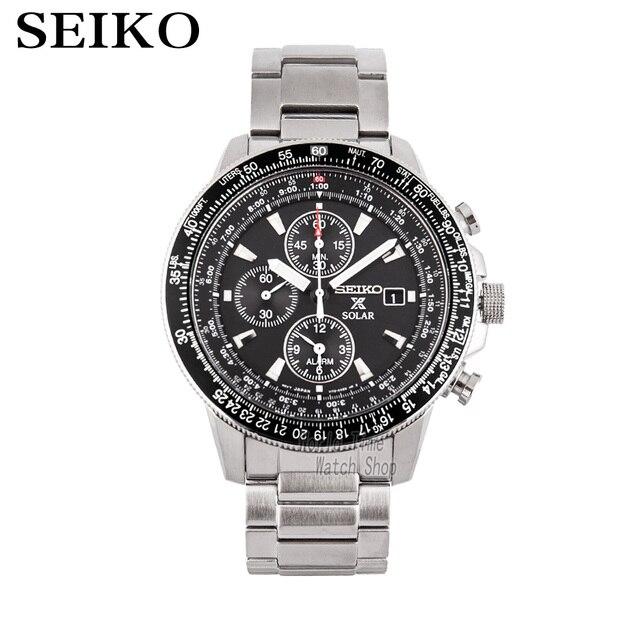Seiko zegarek mężczyźni top luksusowa marka wodoodporny zegarek sportowy zegarek solarny Chronograph zegarek kwarcowy mężczyźni Relogio Masculino SSC009