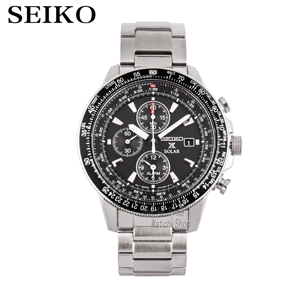 SEIKO Men S Table Spirit Solar Business Leisure Quartz Watch Waterproof Steel Strap SNE297J1