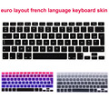 Euro version French language azerty letter Silicone keyboard cover for macbook air 13 pro 13 15 17 retina Protector Sticker film