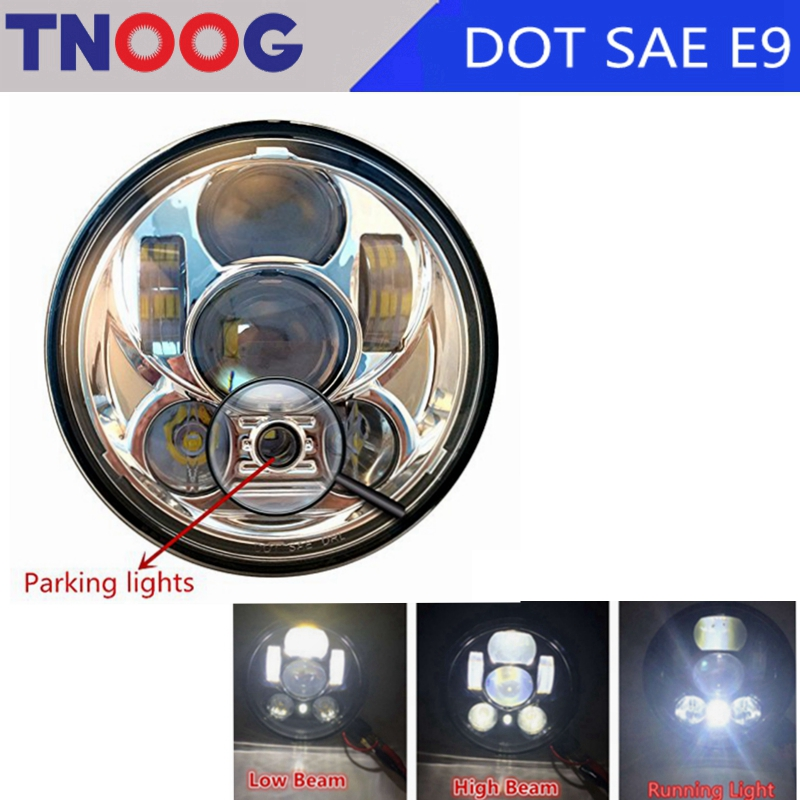 TNOOG 5-3/4 Round Headlamp For Harley Dyna Sportster 1200 48 883 Turn Signal Light 5.75 Inch Projector LED Moto Headlight