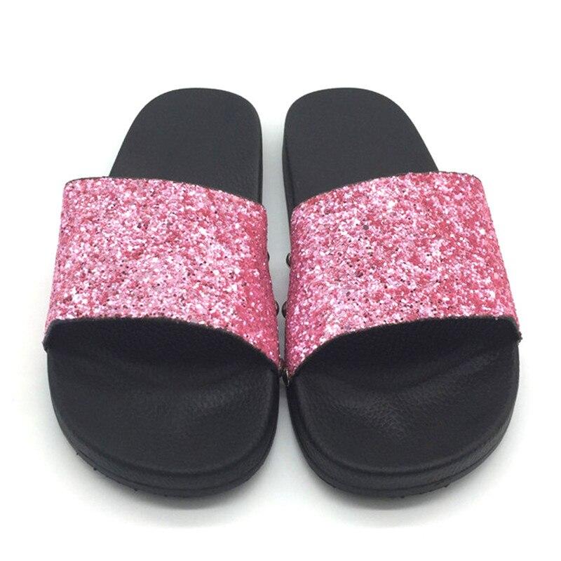 a25d6c1f531e55 Women Luxury Designer Fashion Flat Beach Bling Slide Sparkle Female Sexy  Party Glitter rasteirinha femme Slipper Lady House Shoe-in Slippers from  Shoes on ...