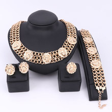 Free Shipping Vintage 5 Lion Head Statement Three layers Circle Link Chain-Gold Necklace Bangle Earrings Ring Jewelry Sets