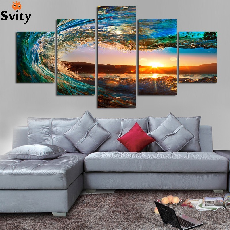 5 Panels Framed Ready To Hang Modern Seascape Painting Canvas Art Sea wave Landscape Wall Picture For Bed Room F213