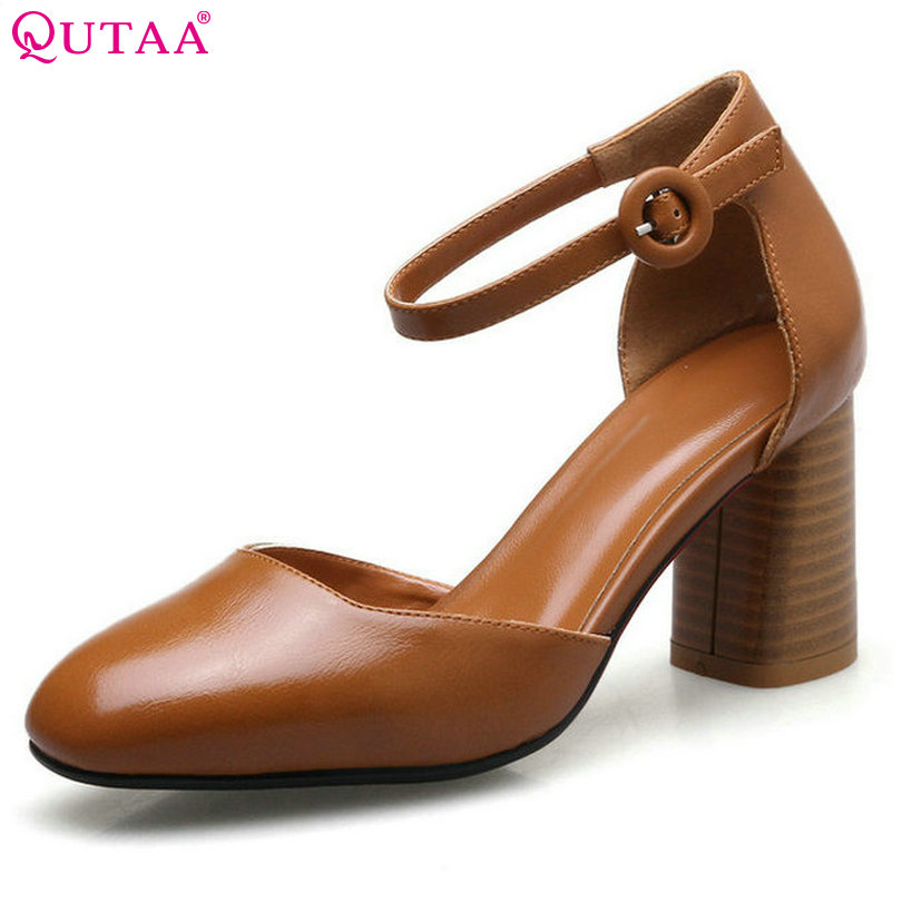 QUTAA 2017 Women Pumps Square High Heel Round Toe PU leather Sexy Ankle Strap Brown Classic Ladies Wedding Shoes Size 34-40 стоимость