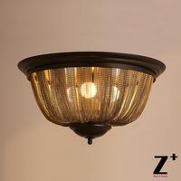 19TH c. Французская Империя кольчуге полумесяцем flushmunt Эдисон Американский промышленный стиль потолочный светильник винтажные железа