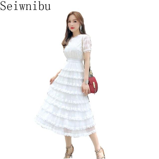 65e2125cfa0 2018 Summer Women Holiday Beach dress Cake Dresses Female Short Sleeve High  Waist Clothes Cute Korean Fashion