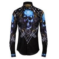 Màu xanh Skull Gothic phong cách đàn ông áo sơ mi 2017 Mùa Thu Châu Âu Stylish Slim fit Long sleeve Casual sơ mi Nam Nhãn Hiệu Tops Cộng Với kích thước M-4XL