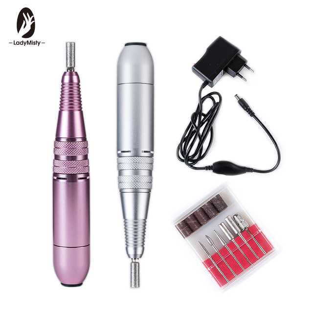 Pink/Silver Pro Electric Nail Drill Machine For Manicure  Nail Cutter 25000rpm 110-240V Metal Portable Easy to Operate Pen Shape