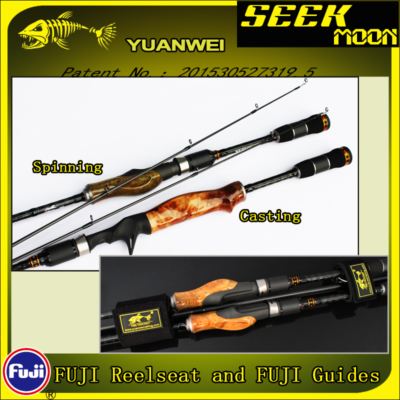 YUANWEI 2Secs Wood Handle Spinning Fishing Rod 1.98m 2.1m ML/M/MH Carbon Lure Rods Casting Rod Vara De Pesca Peche Olta A056 2 secs wood handle spinning fishing rod 1 98m 2 1m 2 4m power ml m mh carbon lure rods vara de pesca peche stick fishingtackle