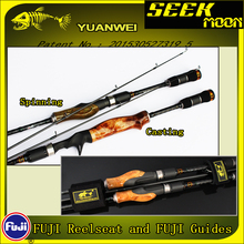 YUANWEI 2Secs Wood Handle Spinning Fishing Rod 1.98m 2.1m ML/M/MH Carbon Lure Rods Casting Rod Vara De Pesca Peche Olta A056 цены