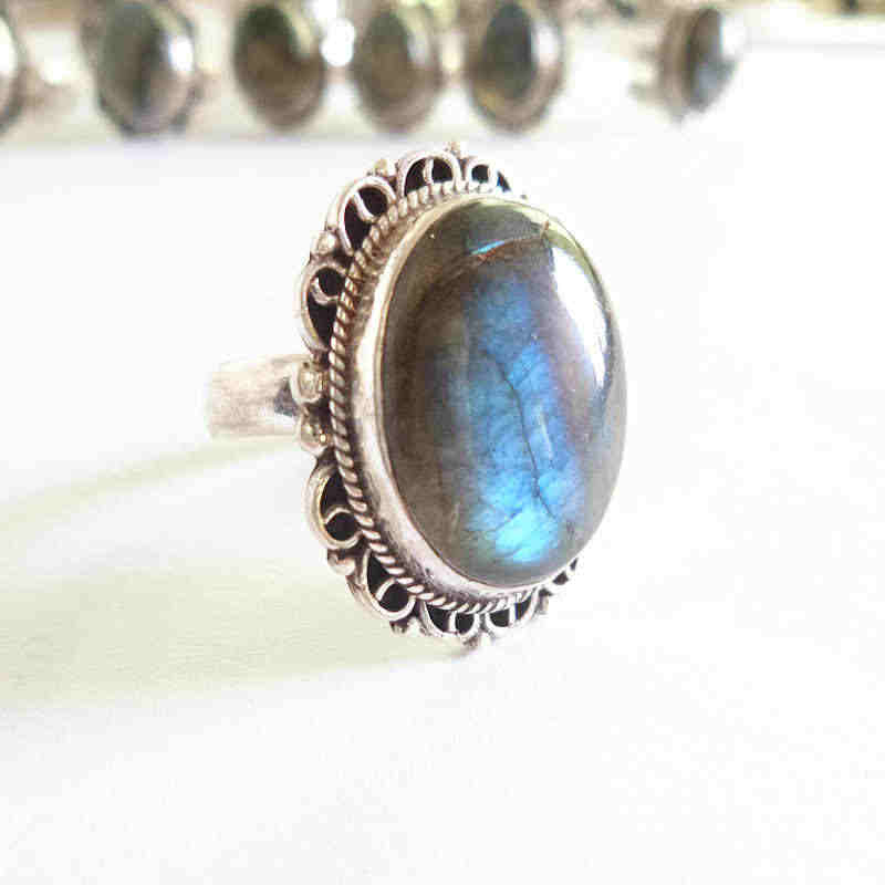 T9002 Nepal 925 Sterling Silver Inlaid Natural Labradorite Big Rings for Man Nepal vintage jewelry