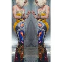 Модное винтажное длинное платье с принтом, вечерние женские платья с жемчугом и стразами, облегающее платье, джаз для певицы для сцены костю