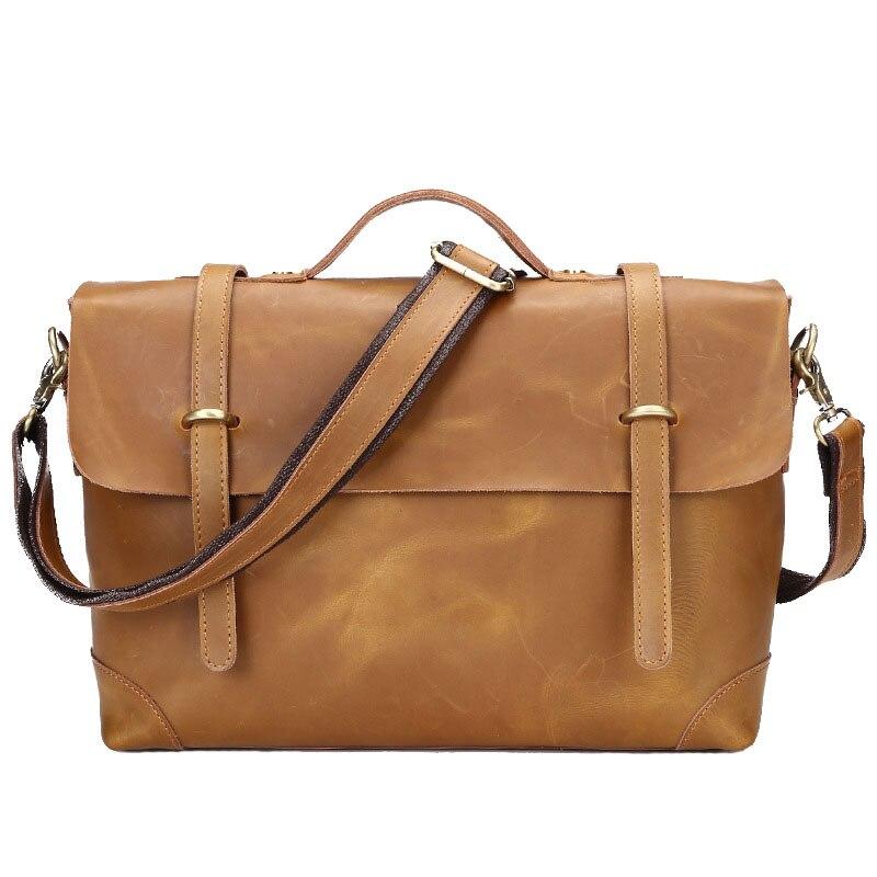 ФОТО NEW Arrival Casual Men's Bag Genuine Leather Men Laptop Case Cow Skin Crazy Horse Briefcase Male Business Portfolio CH069