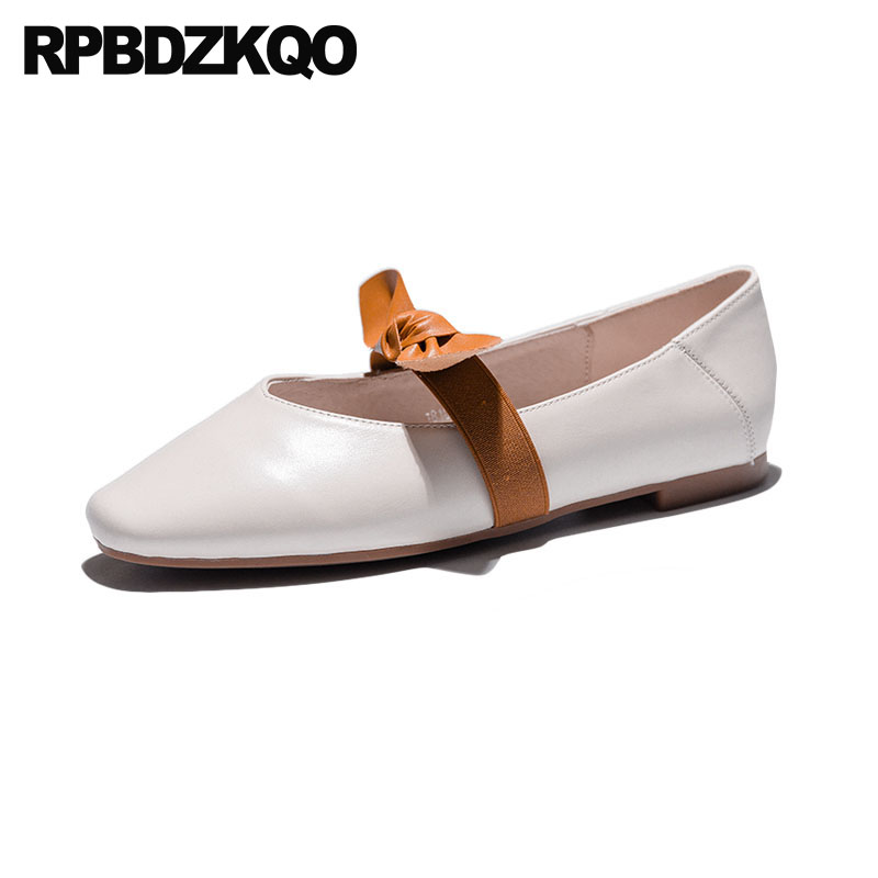 Square Toe Pink Ballerina White Mary Jane Shoes Genuine Leather Kawaii Soft Ballet Flats Women Bow Slip On Japanese School 2018
