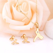 Stainless Steel Stud Earring+Necklace Set