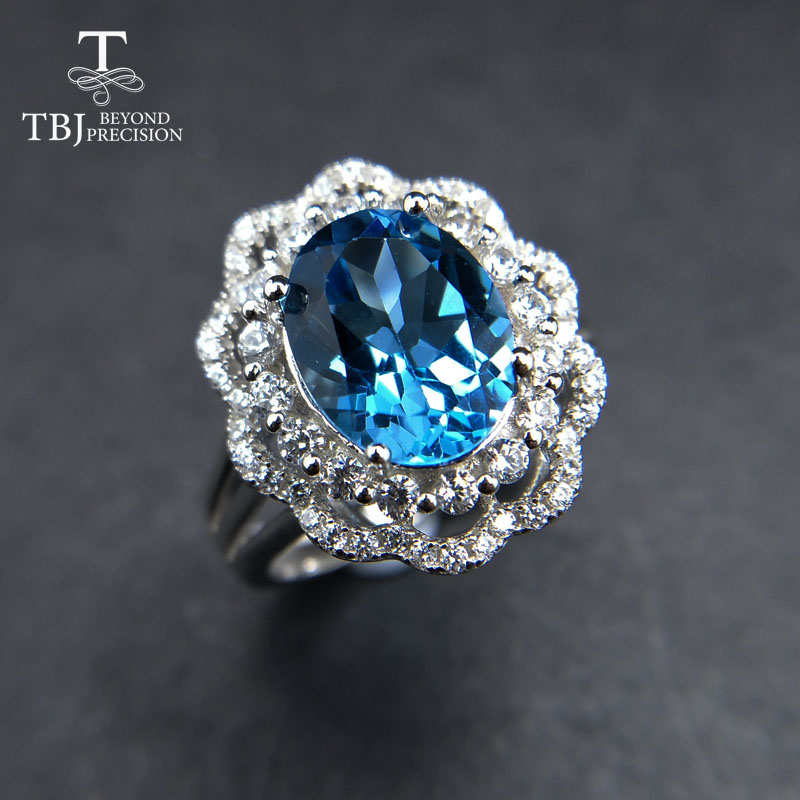 TBJ, classic design ring with 100% natural 8*10mm deep blue topaz gemstone Ring in 925 silver for women with gift box