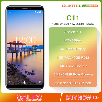 Oukitel C11 5.5 inch 18:9 Smartphone Android 8.1 1GB+8GB MTK6580A Quad Core 5MP+2MP/2MP 3400mAh Battery Mobile Phone 1