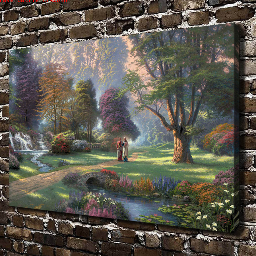 Thomas kinkade walk of faith canvas painting print living - Home interiors thomas kinkade prints ...