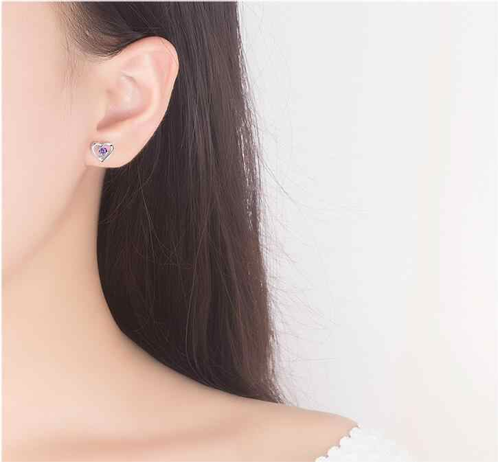 White Zircon Heart Shaped Earrings For Women Korean Fashion Small Earring Set Simple Design Female Costume Jewelery E236-5
