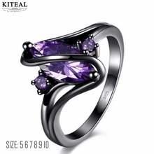 Kiteal винтажные черные кольца с фиолетовыми цирконами для женщин