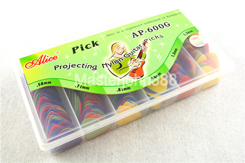 Lots of 600pcs Alice Colorful Projecting Nylon Electric/Acoustic Guitar Picks 6 Thickness Assorted Plastic Box Wholesales