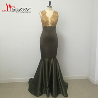 Sexy Long Prom Dress Sleeveless Lace Top Stretch Satin Sweep Train Black Girl Mermaid African Prom
