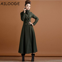 2018 New women army green jacket women vintage stand collar double breasted slim long wool coat plus size autumn winter overcoat