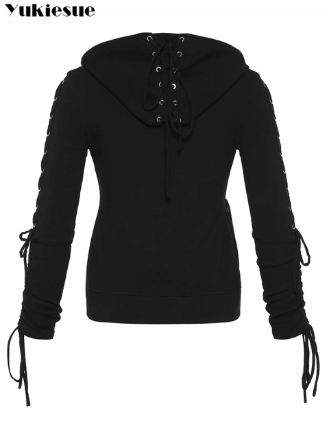 2018 Gothic Punk Women Hoodies Lace up Hooded Long Sleeve Casual Harajuku Darkness Autumn winter Goth Black Sweatshirt Plus Size 6