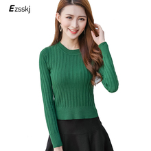 Crop Sweater Fashion Women Pullover Sweater Long Sleeve Korea Style Slim Sexy O-Neck Short Sweater Top Knitted Pullover Green