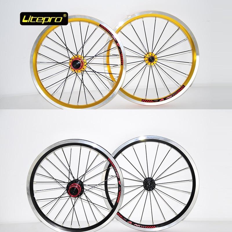 цена на Folding Bike 16 inch Wheelset 74mm/130mm 305*20mm 4 Bearing Hub 20H/28H V Brake Wheel Set For Folding Bicycle Parts LITEPRO