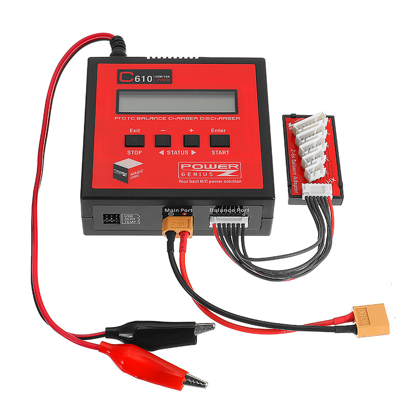 Hot Sale for PG C610 120W 10A Lipo Battery Balance Charger Support 4.35-4.40V LiHV for Rechargeable RC Model Charging Parts 1s 2s 3s 4s 5s 6s 7s 8s lipo battery balance connector for rc model battery esc