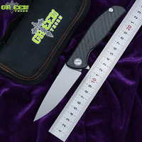 Green thorn hati 95 Flipper folding knife D2 blade bearing titanium CF 3D handle camping hunting outdoor fruit Knives EDC tools