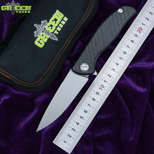 лучшая цена Green thorn hati 95 Flipper folding knife D2 blade bearing titanium CF 3D handle camping hunting outdoor fruit Knives EDC tools