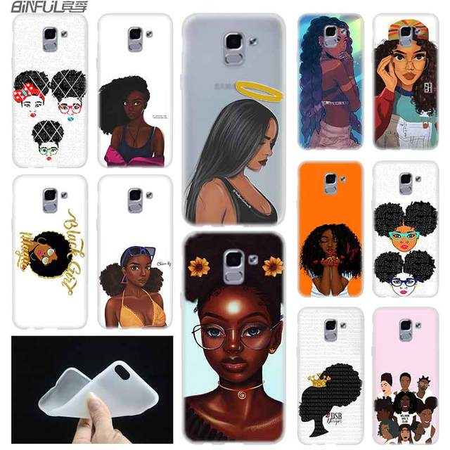 Beleza africano Afro Puffs Preto Menina Tampa Do caso TPU Para Samsung Galaxy J6 J8 J3 J5 J7 J4 J2 J1 além de 2018 2016 2017 EU Primeiro Ace