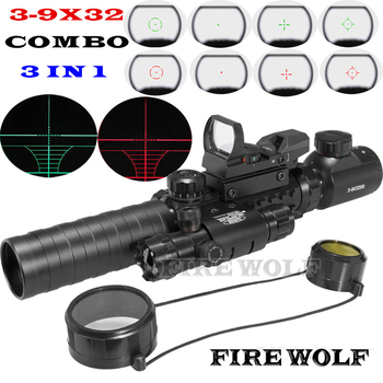 3-9X32EG Riflescope With Long Range Red Dot Laser And RedGreen Dot Holographic Reflex Sight 3 In 1 Combo For Rifle And Airsoft laser hijau jarak jauh